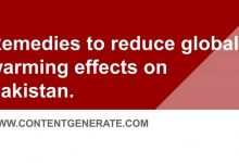 Remedies to reduce global warming effects on Pakistan.