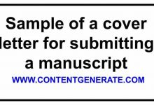 Sample of a cover letter for submitting a manuscript