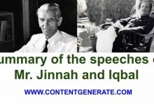 Summary of the speeches of Muhammad Ali Jinnah and Dr. Allama Iqbal
