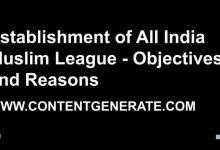 Establishment of All India Muslim League - Objectives and Reasons
