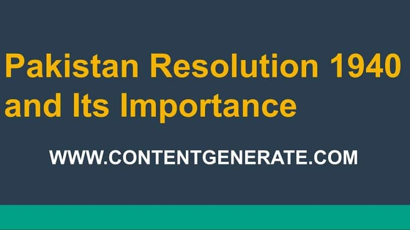 Pakistan Resolution 1940 and Its Importance