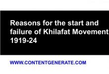 Reasons for the start and failure of Khilafat Movement, 1919-24