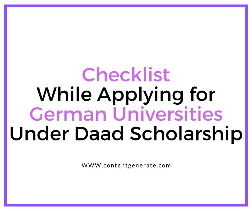 Checklist for Daad Scholarship Application