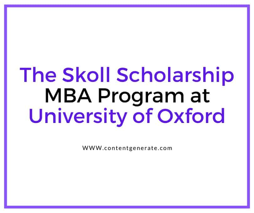 The Skoll Scholarship MBA Program at University of Oxford