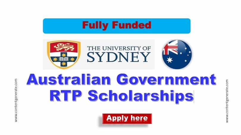 Australian Government RTP scholarships-University of Sydney