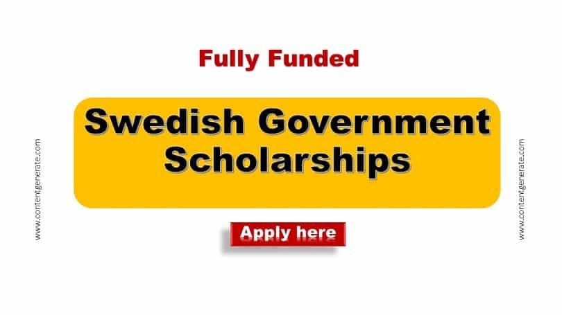 Swedish Government Scholarships 2021-2022