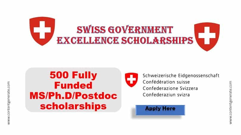 Swiss Government Scholarship 2021-2022