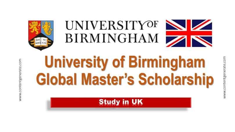 University of Birmingham Global Master's Scholarship