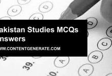 Pakistan Studies MCQs Answers